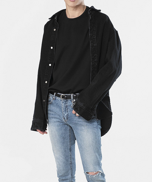 OVERSIZE WASHED DENIM SHIRTS JACKET [BLACK]