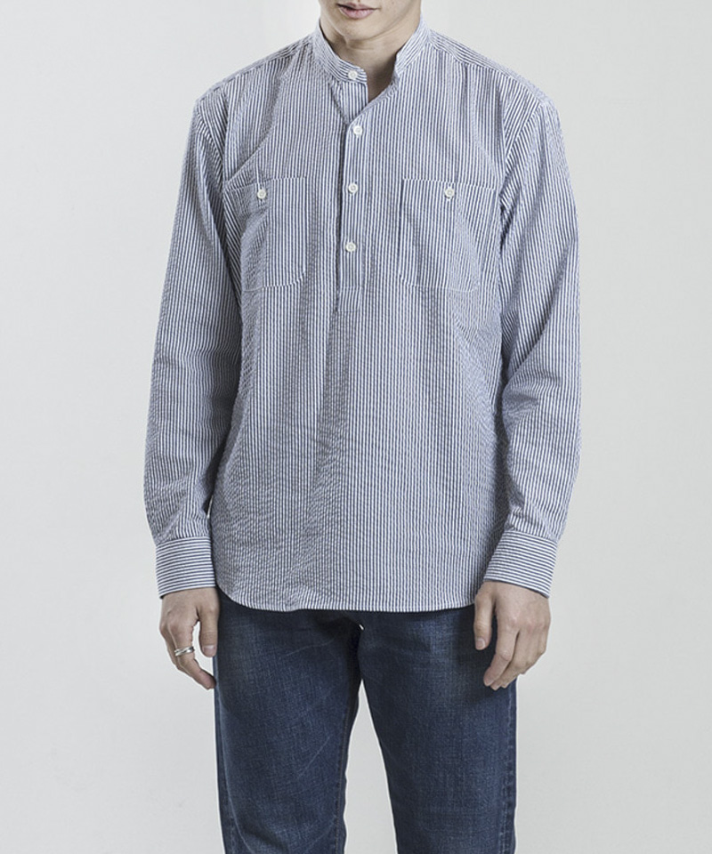 SEERSUCKER PULL-OVER SHIRTS [NAVY]