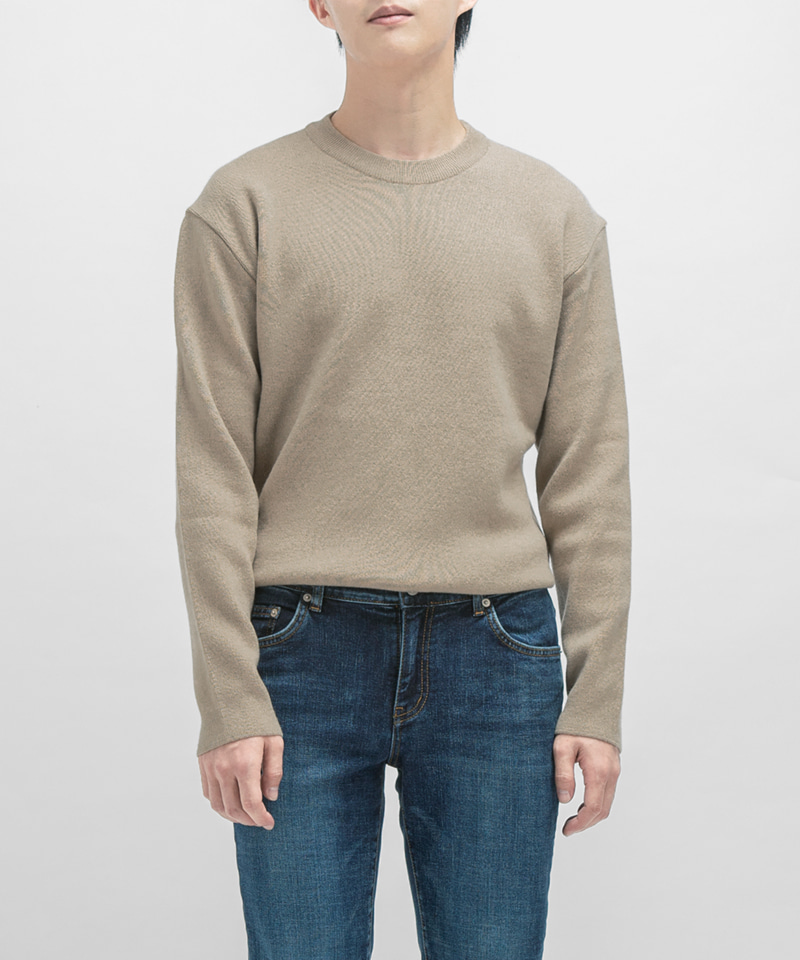 PREMIUM SOFT WOOL MINIMAL SWEATER [OATMEAL]