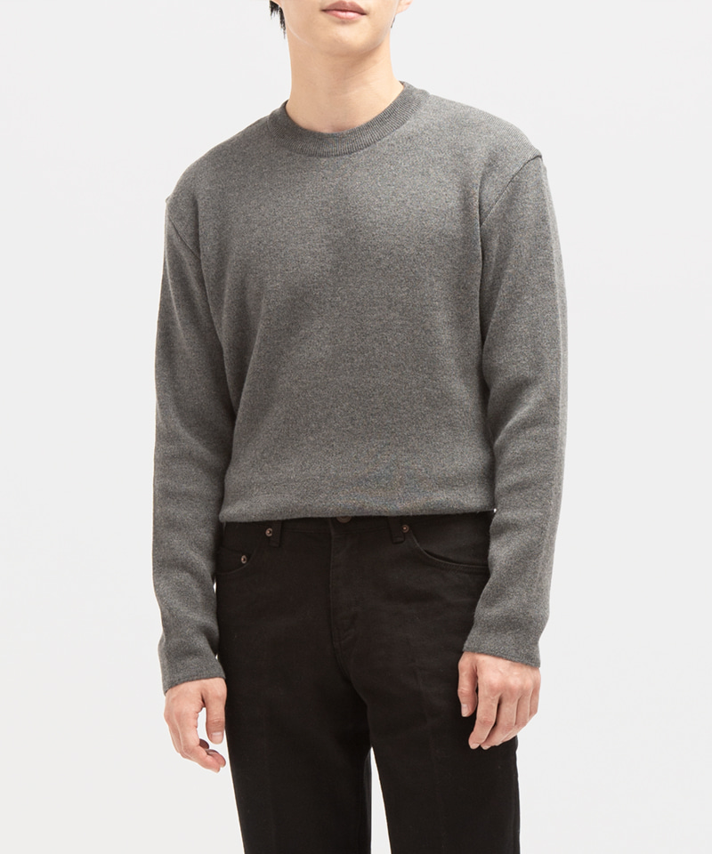 PREMIUM SOFT WOOL MINIMAL SWEATER [DARK GREY]
