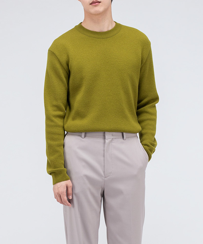PREMIUM SOFT WOOL MINIMAL SWEATER [AVOCADO]