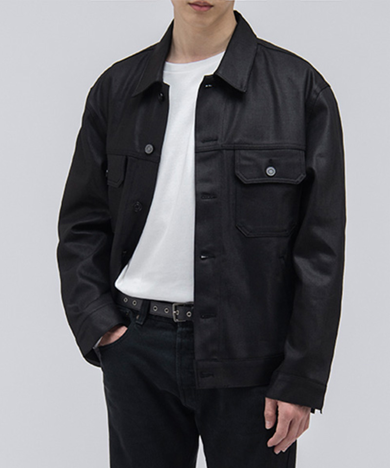 2005 NEW COATED DENIM JACKET [COATED BLACK]
