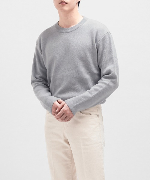 PREMIUM SOFT WOOL MINIMAL SWEATER [SKYBLUE]