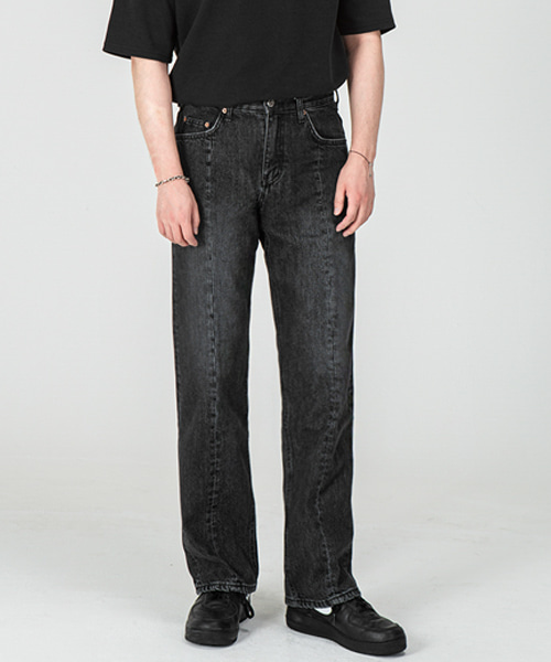 1804 FRONT CUT BLACK JEANS [WIDE STRAIGHT]
